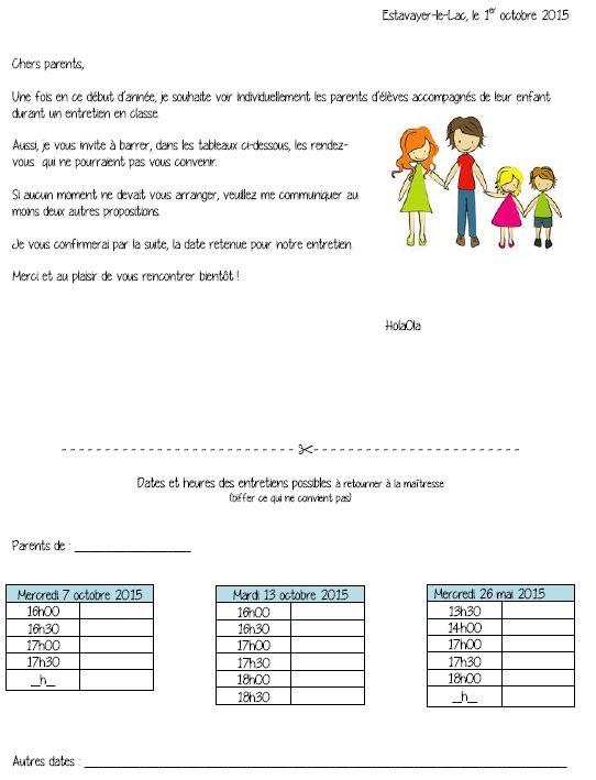 lettre rencontre parents enseignants