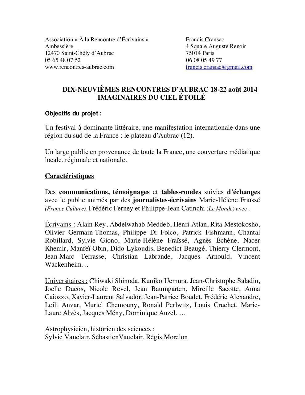 17e Rencontres d'Aubrac : programme